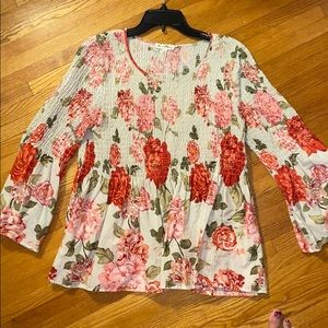 Cabbage rose cotton top